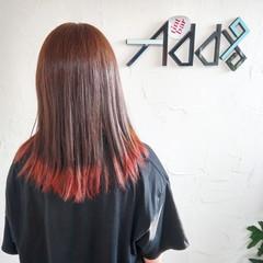 バレイヤージュ ロング 裾カラーオレンジ 裾カラー ヘアスタイルや髪型の写真・画像