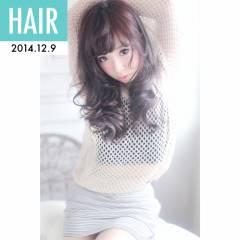 アップスタイル セミロング ウェーブ ストリート ヘアスタイルや髪型の写真・画像