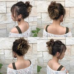 フェミニン 簡単ヘアアレンジ お団子 ヘアアレンジ ヘアスタイルや髪型の写真・画像