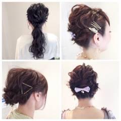 アップスタイル ショート ナチュラル ルーズ ヘアスタイルや髪型の写真・画像