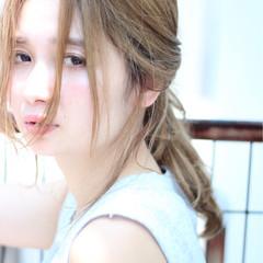 ショート 簡単ヘアアレンジ ナチュラル ポニーテール ヘアスタイルや髪型の写真・画像