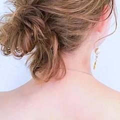 簡単ヘアアレンジ フェミニン 女子会 デート ヘアスタイルや髪型の写真・画像