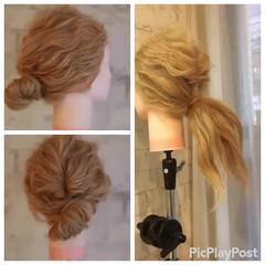 ゆるふわ ミディアム 簡単ヘアアレンジ 結婚式 ヘアスタイルや髪型の写真・画像