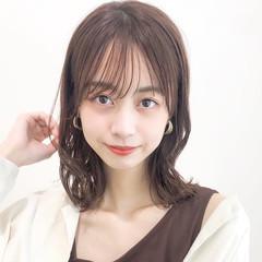 ミディアム 大人かわいい アンニュイほつれヘア デジタルパーマ ヘアスタイルや髪型の写真・画像