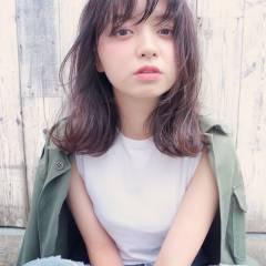 外国人風カラー ストリート シースルーバング マルサラ ヘアスタイルや髪型の写真・画像
