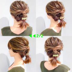 フェミニン ボブ 簡単ヘアアレンジ デート ヘアスタイルや髪型の写真・画像