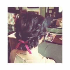 ゆるふわ ヘアアレンジ セミロング 波ウェーブ ヘアスタイルや髪型の写真・画像
