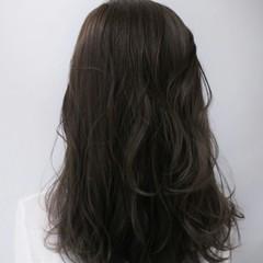 暗髪 アッシュ セミロング コンサバ ヘアスタイルや髪型の写真・画像