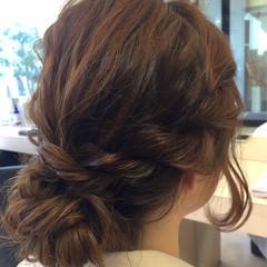 まとめ髪 結婚式 ゆるふわ セミロング ヘアスタイルや髪型の写真・画像