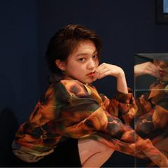 外国人風 モード 色気 ハイライト ヘアスタイルや髪型の写真・画像