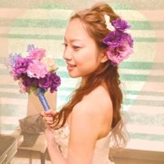 ヘアアレンジ ナチュラル ゆるふわ 花 ヘアスタイルや髪型の写真・画像