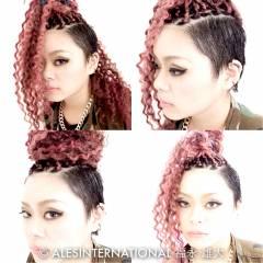 ウェーブ ストレート アップスタイル セミロング ヘアスタイルや髪型の写真・画像