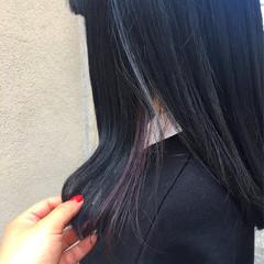パープル インナーカラー ナチュラル 春 ヘアスタイルや髪型の写真・画像