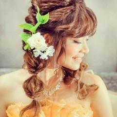 結婚式 ハーフアップ ヘアアレンジ 編み込み ヘアスタイルや髪型の写真・画像