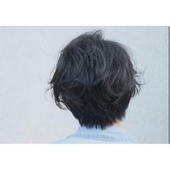 パーマ ショート ナチュラル 黒髪 ヘアスタイルや髪型の写真・画像