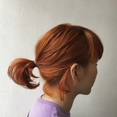 ブリーチ 外国人風カラー 外国人風 オレンジベージュ ヘアスタイルや髪型の写真・画像