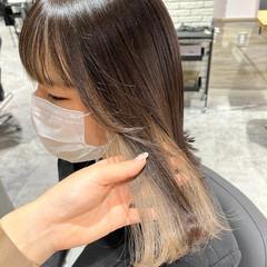 ハイトーンカラー ナチュラル ホワイトカラー セミロング ヘアスタイルや髪型の写真・画像