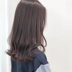 ロブ ロング ガーリー レッド ヘアスタイルや髪型の写真・画像