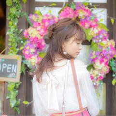 フェミニン デート 結婚式 夏 ヘアスタイルや髪型の写真・画像