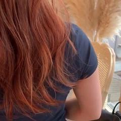 アプリコットオレンジ オレンジ ガーリー オレンジカラー ヘアスタイルや髪型の写真・画像