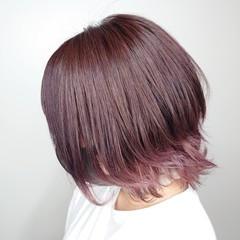 フェミニン 裾カラー 可愛い ボブ ヘアスタイルや髪型の写真・画像