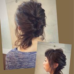 ショート セミロング 簡単ヘアアレンジ ルーズ ヘアスタイルや髪型の写真・画像