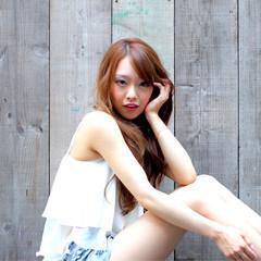 グラデーションカラー ロング 渋谷系 ゆるふわ ヘアスタイルや髪型の写真・画像