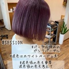 ボブ ダブルカラー ガーリー ピンクパープル ヘアスタイルや髪型の写真・画像