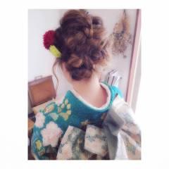 着物 ガーリー 振袖 成人式 ヘアスタイルや髪型の写真・画像