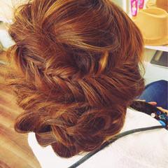 大人女子 編み込み セミロング ヘアアレンジ ヘアスタイルや髪型の写真・画像