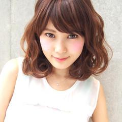 外国人風 ブラウン ミディアム 大人かわいい ヘアスタイルや髪型の写真・画像