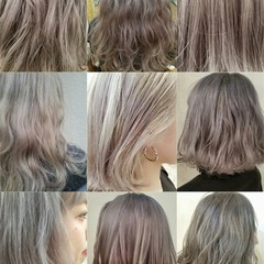 外国人風 モード アッシュ セミロング ヘアスタイルや髪型の写真・画像