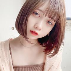 シースルーバング ヘアアレンジ 韓国ヘア ロブ ヘアスタイルや髪型の写真・画像
