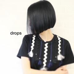 ストレート モード ボブ ブルーブラック ヘアスタイルや髪型の写真・画像