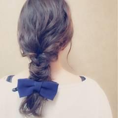 外国人風 フィッシュボーン 簡単ヘアアレンジ ロング ヘアスタイルや髪型の写真・画像