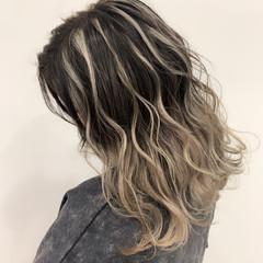 セミロング 外国人風カラー バレイヤージュ 透明感カラー ヘアスタイルや髪型の写真・画像