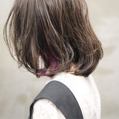 ボブ ハイライト グレージュ ワンカール ヘアスタイルや髪型の写真・画像