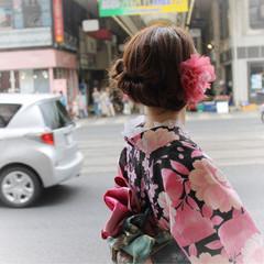 和装 ミディアム ヘアアレンジ まとめ髪 ヘアスタイルや髪型の写真・画像