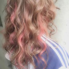 セミロング 暗髪 フェミニン ハイライト ヘアスタイルや髪型の写真・画像