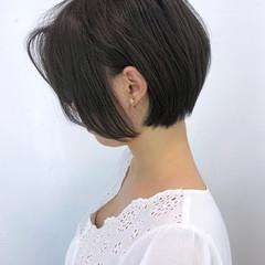 ショート 大人かわいい ナチュラル 黒髪 ヘアスタイルや髪型の写真・画像