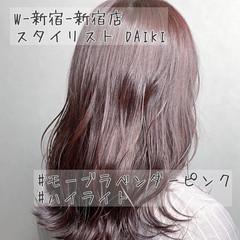 セミロング アディクシーカラー ピンクバイオレット ピンクベージュ ヘアスタイルや髪型の写真・画像