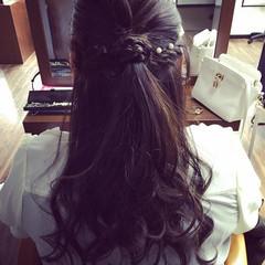 ハーフアップ ショート ロング フェミニン ヘアスタイルや髪型の写真・画像