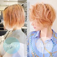 ショートボブ ショートヘア ナチュラル 切りっぱなしボブ ヘアスタイルや髪型の写真・画像