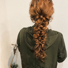 編みおろし ロング ヘアセット ブライダル ヘアスタイルや髪型の写真・画像