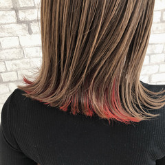 ストリート 切りっぱなしボブ ミディアム インナーカラー ヘアスタイルや髪型の写真・画像