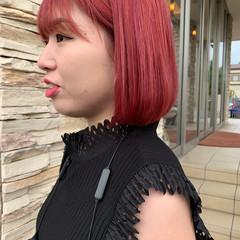 モード ボブ 赤髪 ブリーチオンカラー ヘアスタイルや髪型の写真・画像