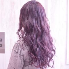 パープル ロング ラズベリーピンク コリアンピンク ヘアスタイルや髪型の写真・画像