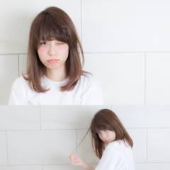 シナモンベージュ ロブ ミディアム 丸顔 ヘアスタイルや髪型の写真・画像