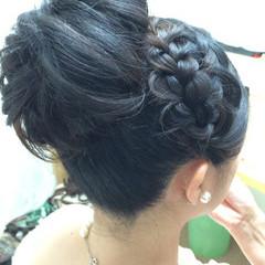 ショート 簡単ヘアアレンジ 黒髪 編み込み ヘアスタイルや髪型の写真・画像