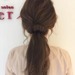 セミロング ローポニーテール ショート ガーリー ヘアスタイルや髪型の写真・画像